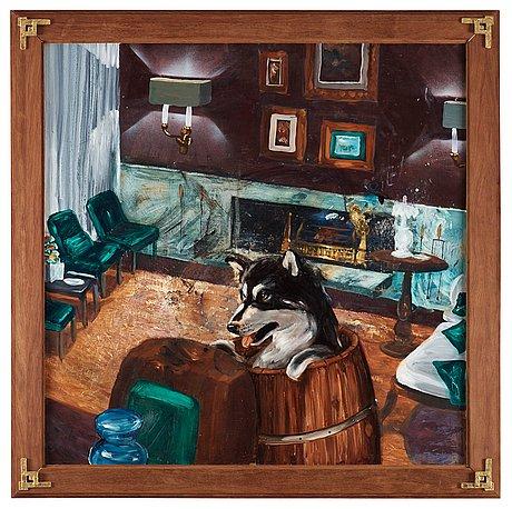 """Ernst billgren, """"hund i tunna""""."""