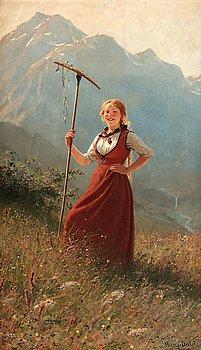1007. Hans Dahl, Girl in Fjord landscape.