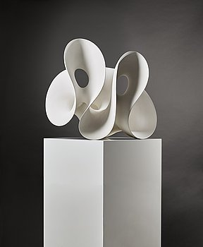 1. An unique Eva Hild 'Breaking-up-series' (double) sculpture in stoneware clay with kaolin-engobe surface, Sweden 2002.