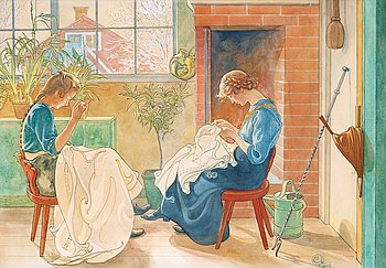 "897. Carl Larsson, ""Syende jäntor"" / ""Flickor som sy vid fönstret"" [Sewing girls / Girls sewing by the window]."