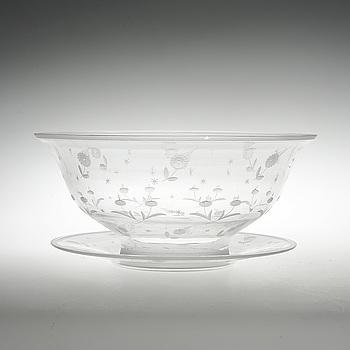 SKÅL PÅ FAT, glas, Edward Hald, Orrefors, 1929.