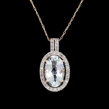 HÄNGE MED KEDJA, 14K guld, diamanter tot ca 0.25 ct. och akvamarin.