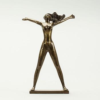 """STIG BLOMBERG, skulptur, brons, """"Fritidsflickan"""" sign SB, Ystad Metall."""