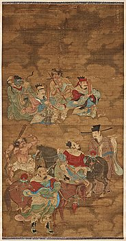 9. A fine daoist painting of gods holding written spells,  attendants and horsemen, Ming dynasty, 17th century.