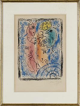 MARC CHAGALL, färglitografi, 1962, signerad med blyerts, utgiven av Maeght, Paris.