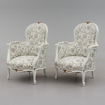 BERGÈRER, 1 par, Louis XIV-stil, 1900-talets början.