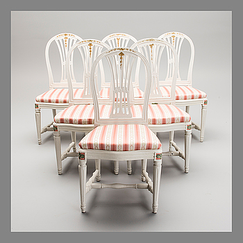 A SET OF SIX GUSTAVIAN CHAIRS, late 18th century.