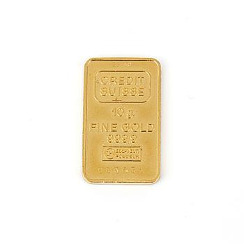 GULDTACKA, 23K guld, Credit Suisse. Vikt 10g.