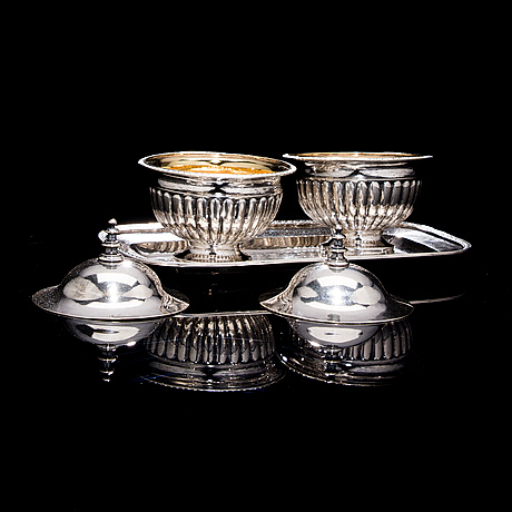 A pair of dessert bowls, silver. anders lundqvist. stockholm 1817