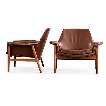 62. Ib Kofod Larsen, a pair of easy chairs, OPE-möbler, Sweden 1950's-60's.