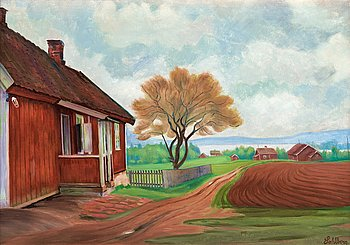 "1008. Harald Sohlberg, "" 'Sitpaa' - Maridalen""  (The house at Maridalen)."