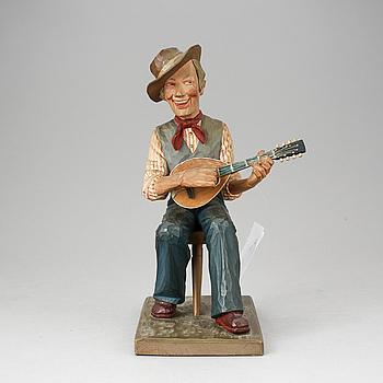 HERMAN ROSELL, tillskriven, figur, trä. Otydligt signerad med krita.