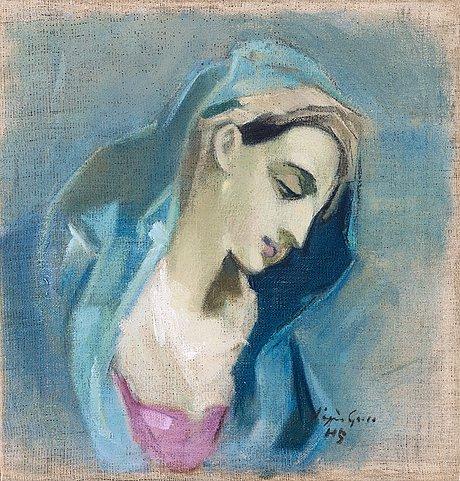 """Helene schjerfbeck, """"blå madonna"""" (blue madonna)."""