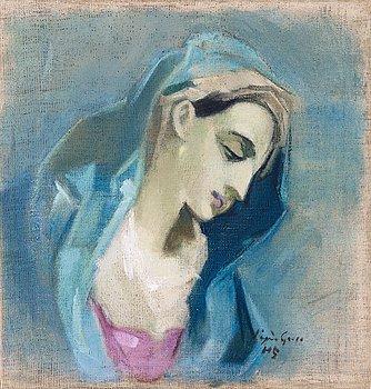 """1011. Helene Schjerfbeck, """"Blå Madonna"""" (Blue Madonna)."""