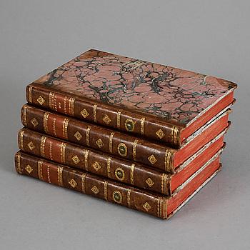 """BÖCKER 4 BAND, """"Vitterhetsarbeten"""" """"Theaterstycken"""", Tåget öfver Bält av Creutz och Gyllenborg"""". Stockholm 1795-1812."""