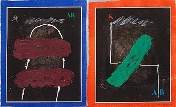 """JAMES COIGNARD, 8 st carborundumgravyrer i mapp, """"Regards sur l'oeuvre gravé"""", signerade och numerade 54/60."""