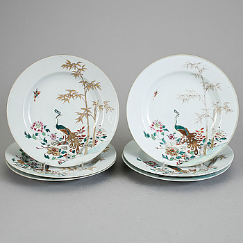 TALLRIKAR, 6 st, porslin, Kina, Qianlong 1736-95.