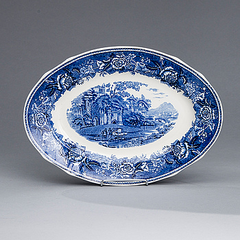 "SERVISDELAR, 35 st, PORSLIN, ""Blått Landskap"", design Reinhard Richter, Arabia 1941-71."
