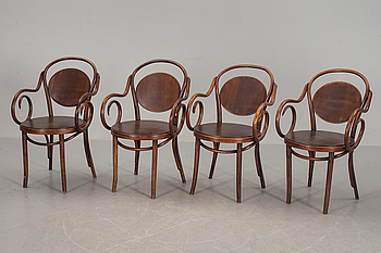 KARMSTOLAR, 4 st, Cafémodell, Thonet-stil, 1900-tal.