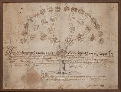 SLÄKTTRÄD, von Seyffertitz, Tyskland. Bär datering Dresden? um 22 augusti anno 1731.