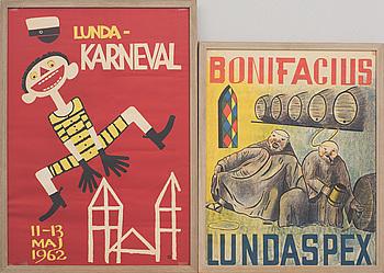 "AFFISCHER, 6 st, ""Karnevalen Lund"". Olika årgångar."