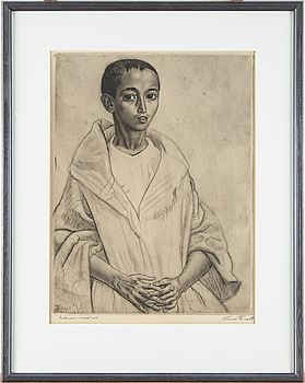 "EDUARD WIIRALT, litografi. ""Berberi poiss"". Signerad och daterad 1938."