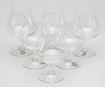 COGNACSGLAS, 10 st, glas, Nils Landberg, Orrefors.