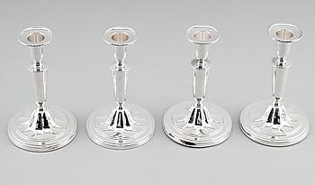 LJUSSTAKAR, 4 st, silver, C G Hallberg, Stockholm 1955, 1959 och 1960.