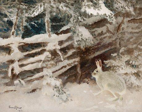 Bruno liljefors, hare in winter landscape.
