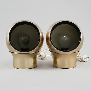 """VÄGGLAMPOR, ett par, """"Klot 3"""", Hemi, 1900-talets andra hälft."""