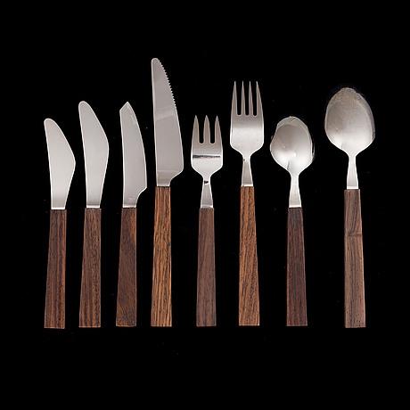 Bertel gardberg, flatware service, 90 pieces. triennale. designed 1956 57. manufactured by fiskars