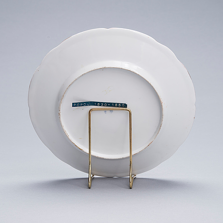 A russian plate, porcelain, the popov factory ca 1830 1850