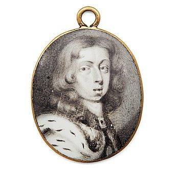 """1010. Pierre Signac, Miniatyr, """"Karl XI"""" (1655-1697)."""