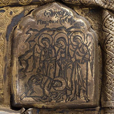 Ikon, tempera på pannå samt basma i mässing, ryssland 1600 talets sista tredjedel