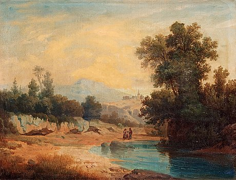 Gustaf wilhelm palm, italian landscape with figures.