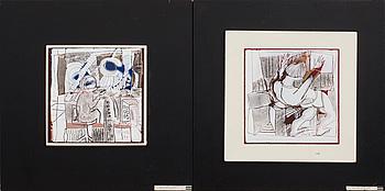 STIG GHYLFE, emaljmålningar, 2 st, signerade och daterade 75.