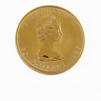 GULDMYNT, finguld, 50 dollar, Elizabeth II, Canada, 1985, vikt ca 31 g.