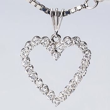 HÄNGE SAMT KEDJA, 18K vitguld, med briljantslipade diamanter, ca 1.20 ct. Totalvikt ca 14 g.
