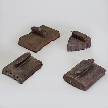 BLOCKTRYCK, trä, fyra stycken. Indien.