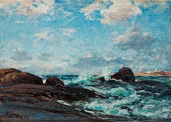 1009. Berndt Lindholm, Coastal scene with breaking waves.