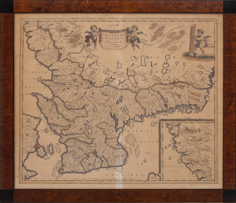 Karta Blekinge Skane.Karta Over Skane Blekinge Och Halland Handkolorerad 1700 1800 Tal
