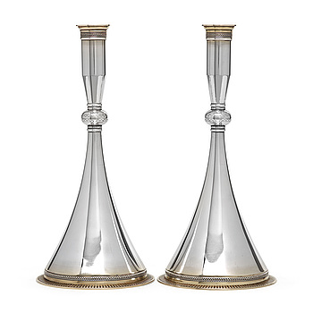 A pair of Wiwen Nilsson sterling 'Byzantine' candlesticks, Lund 1956.