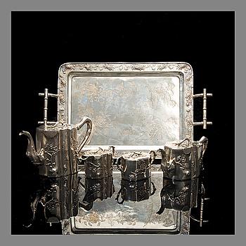 KINESISK TE- OCH KAFFESERVIS, 5 DELAR, silver, Shanghai ca 1900, Wo Shing.