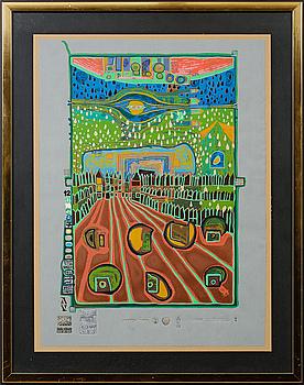 FRIEDENSREICH HUNDERTWASSER, färgserigrafi med metallprägling, otydligt numrerad/3000.
