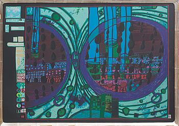 FRIEDENSREICH HUNDERTWASSER, färgserigrafi med metallprägling, numrerad 2733/3000.