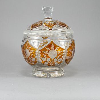 BÅLSKÅL MED LOCK, glas, 1900-tal.