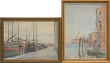 OKÄND KONSTNÄR, akvarell, 2 st. 1900-tal.