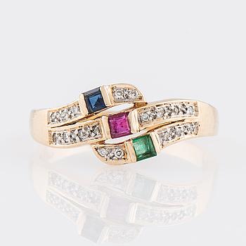RING, smaragd, rubin, safir, diamanter, 14K guld.