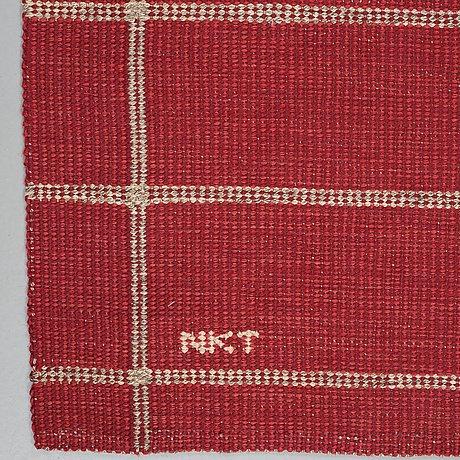 Carpet. flat weave. 234 x 173,5 cm. signed nkt.