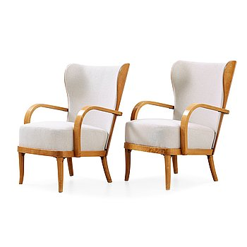 14. Werner West, a pair of birch armchairs, Wilhelm Schaumann Oy, Finland 1930's-40's.